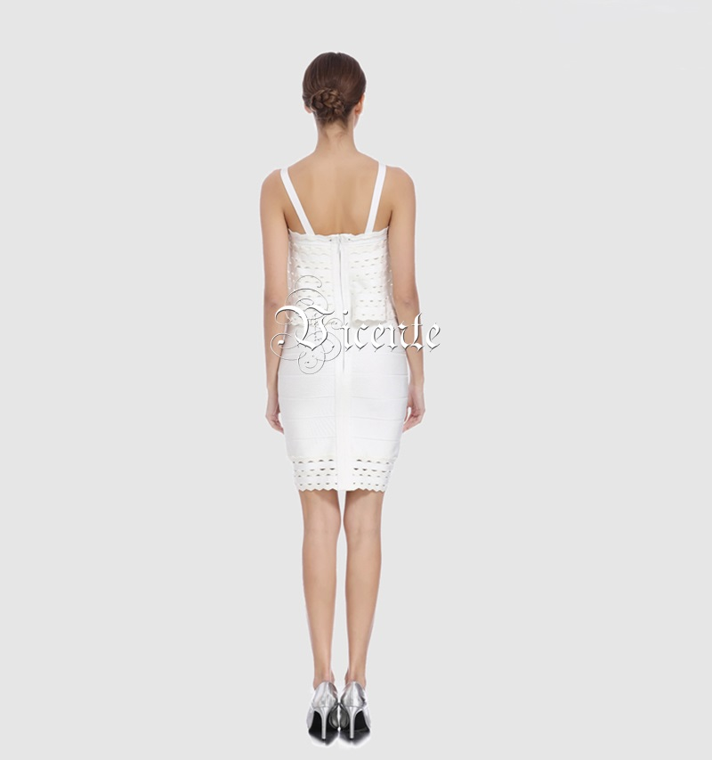 Sexy De Robe Vicente Bretelles Nouveau Creux À Out Gros Célébrité Partie Ruches Élégant Noir Mini blanc Chaude En Bandage 2019 4IIx6qw0p