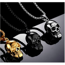 2018 Halloween Jewelry Skull Necklace Stainless Steel Gothic Biker Pendant & Chain For Men/Women Punk Gift Gold/Black Color