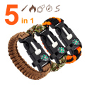 5 in 1 Emergency Survival Bracelet Compass Paracord Bracelets For Men Women Outdoor Rescue Parachute Cord Wristband Flint Fire