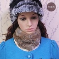 Knitted Fur Scarves CDS108 2017 New Arrival Knitted Rabbit Real Fur Scarf For Women Neck Warmer Fur headbands Ear Head scarf
