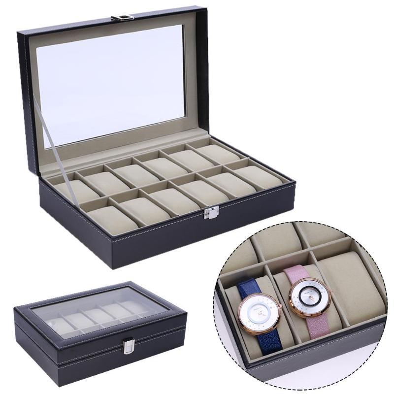 12 Slots Pu Leder Armbanduhr Display Box Lagerung Inhaber Organizer Uhr Fall Schmuck Lagerung Dispay Uhr Box Verkaufspreis