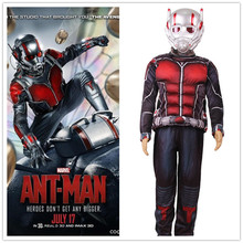 Halloween Child Deluxe Ant man Muscle Costume Boys Marvel Superhero Cosplay Fancy Dress 3pcs Outfit For Kids LED Masks