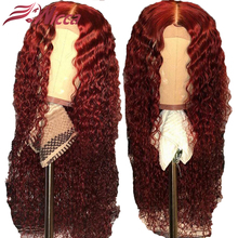 Wicca 13X6  Lace Front Human Hair Wigs Red Color Preplucked