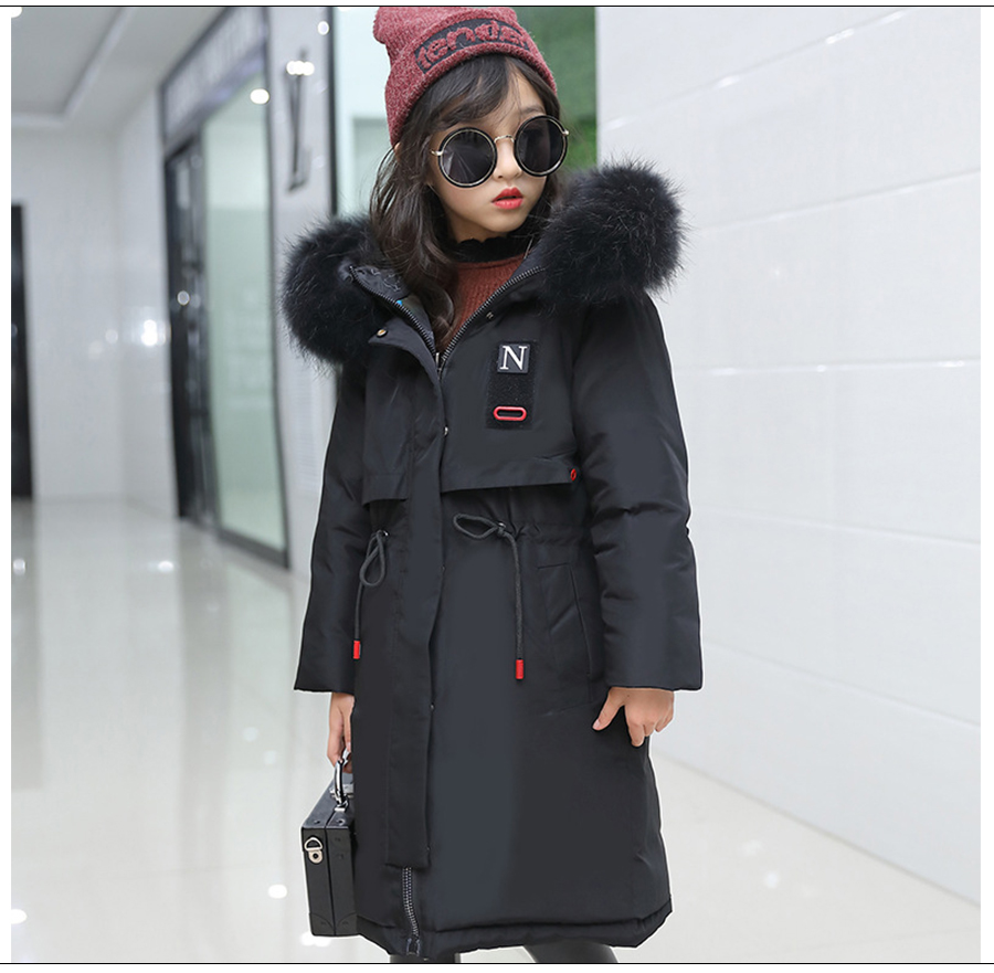 Winter Jacket for Girls Fur Hooded Russian Girls Winter Coat 2018 Children Jacket Down Cotton Parkas Outerwear Long Teen Clothes winter jacket female parkas hooded fur collar long down cotton jacket thicken warm cotton padded women coat plus size 3xl k450