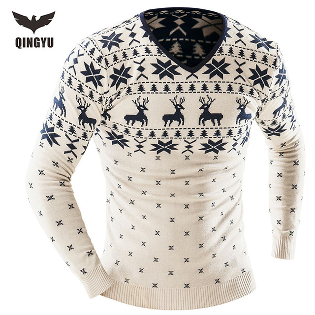 Sweater Men 2017 Brand Pullovers Casual Sweater Male V-Neck Deer Printing Slim Fit Knitting Mens Sweaters Man Pullover Men XXL