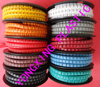 10 roll(3500pcs)/lot EC-3  6mm square mark cable 10 different number and color from 0-9