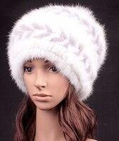 Chapéu de palha para fevereiro de pele de vison mulheres doce estilo coreano bonés de pele de inverno quente térmica