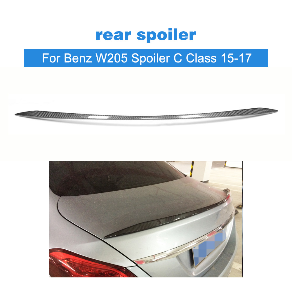 Carbon Fiber Rear Spoiler Lip Wing For Mercedes Benz W205 Spoiler C Class C180 C200 C250 C63 Sedan 4-Door 2015-2017