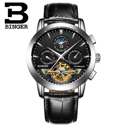 Switzerland Brand Binger Elegant Black Dial Leather Luxury Mens Wristwatch Mechanical Automatic Watch Hollow Watches For