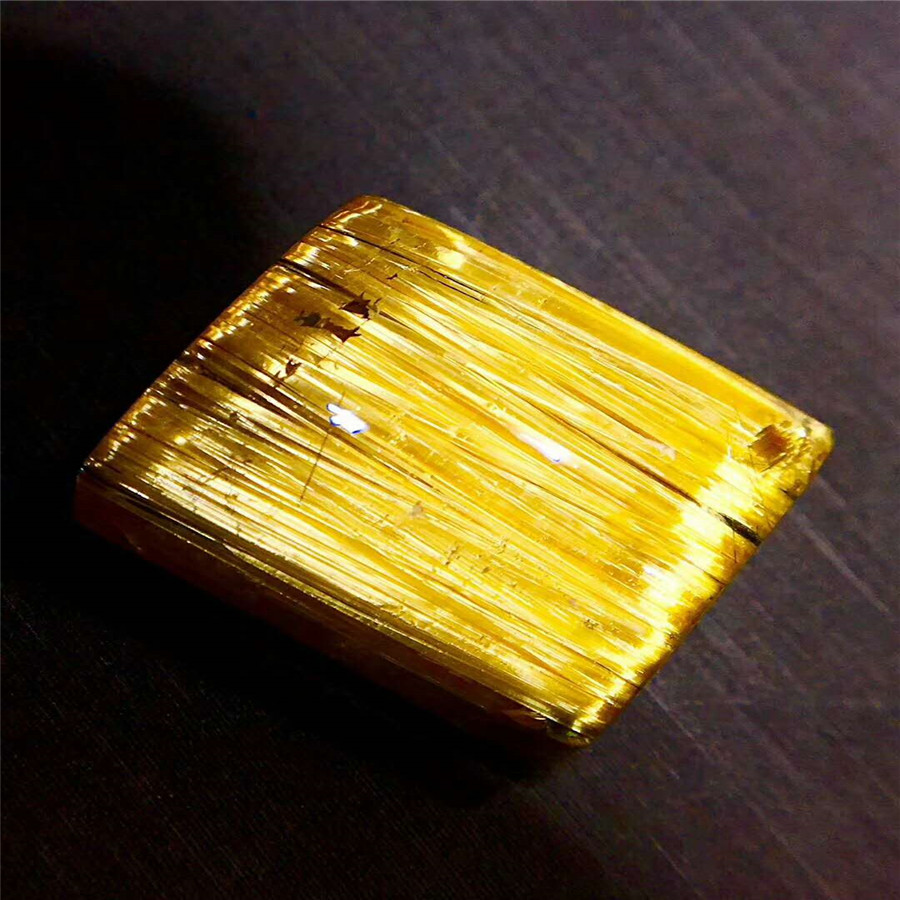 2018 Newly Natural Gold Rutilated Quartz Crystal Cat Eye Effect Stone Fashion Rectangle Wealthy Ring Beads Top Quality