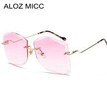 ALOZ MICC Luxury Rimless Sunglasses Women Vintage Metal Big Frame Lady Sun Glasses Fashion Marine Lens Eyeglasses UV400 Q266