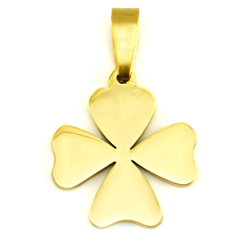 Risul golden Four Leaf Clover charms DIY woman girl female  jewelry making parts stainless steel bulk wholesale tags pendants
