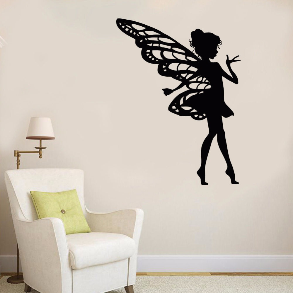 Beauty Salon Wall Decal Removable Fairy Kids Beauty Salon Decoration Fairy Girl Kids Room Wall Sticker DIY Window Decal AY625