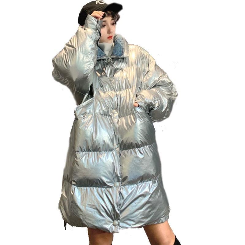 2019 Warm glossy Silver Black   Parka   Women Harajuku BF Loose Jacket windbreaker Coat Winter Thicken Glossy Down   Parka   For Women