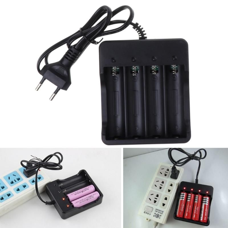 Universal Rechargeable 4 Slot Battery Charger 4.2V Li-ion US Plug Tool For 18650