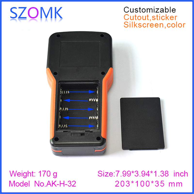 10 pcs, 2017 new instrument handheld enclosure with 5xAA battery holder 203*100*35mm LCD enclosure case, plastic electronics box