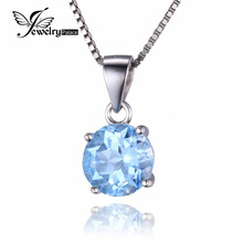 JewelryPalace Natural Stone Sky Blue Topaz Pendant Necklace Charm Necklace 18 Inch Genuine 925 Sterling Silver Fine Jewelry