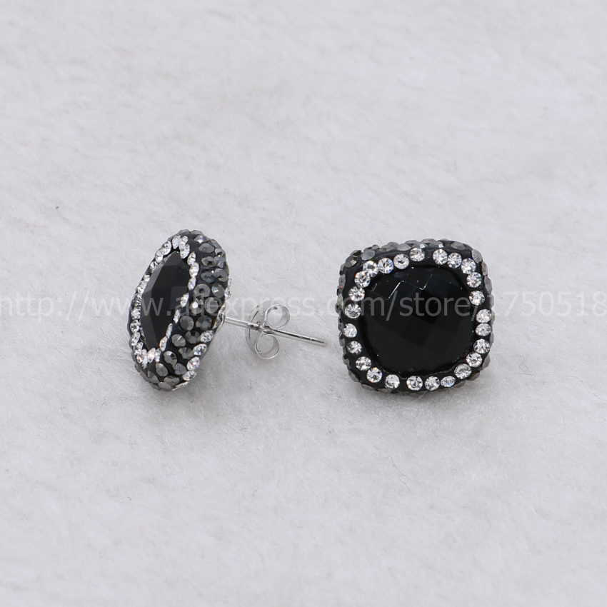 Natural black druzy stone stud earrings faceted pave rhinestone druzy earrings handcrafted Square  gem jewelry for women 524