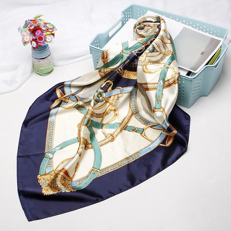 Summer Fashion Scarves For Women Print Satin Silk Scarf Female 90x90cm Square Shawl Bandana Head Large Hijab Scarfs For Ladies