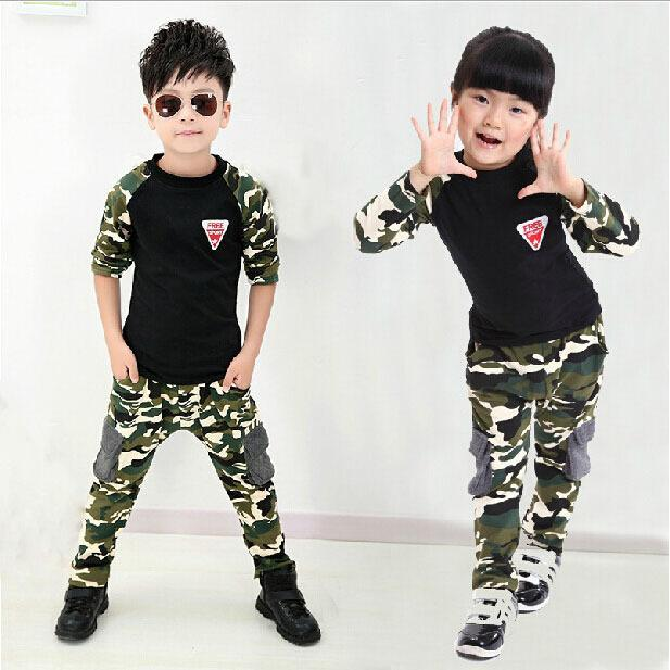 35dd4da2014f 2017 New Camouflage Kids Clothing Set for Boys Girls Spring   Autumn Cotton  Baby Boy Clothes Sports Set Active Baby Girl Clothes-in Clothing Sets from  ...