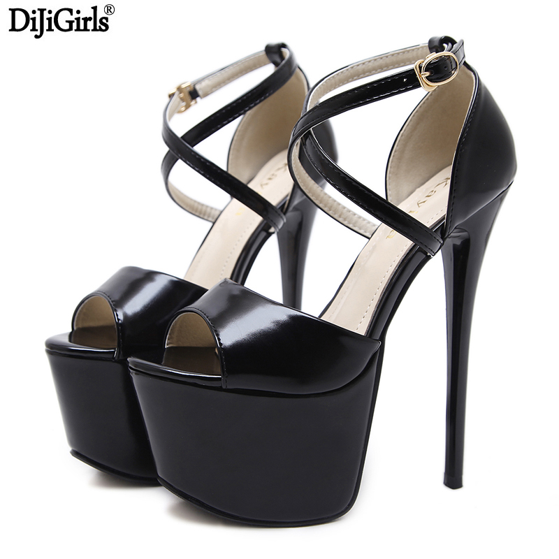 цены 16cm Ultra High Heel Sandals Sexy Thin Heel Cross Strap Buckle Party Pumps Fashion Stiletto Platform High Heels Black Shoes
