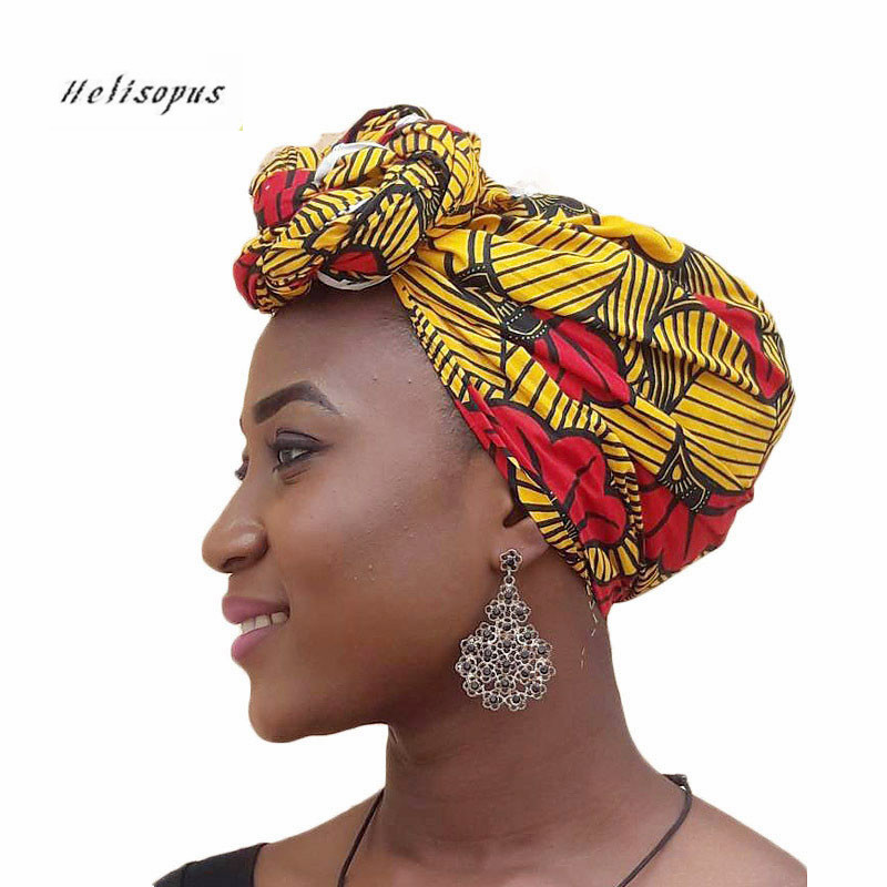 Helisopus New African National Headscarf Ladies Cap Women Hair Accessories Women's Personality Fashion Printed   Headwear
