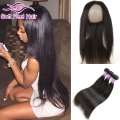 360 Lace Frontal Closure With Bundles Brazilian Virgin Hair Straight With Closure Cheap Straight Weave Human Hair  With Closure