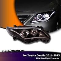 NOVSIGHT 2 шт светодиодный фары сборки проектор Ангел глаз DRL противотуманных фар для Toyota Corolla 2011 2013 огни автомобиля