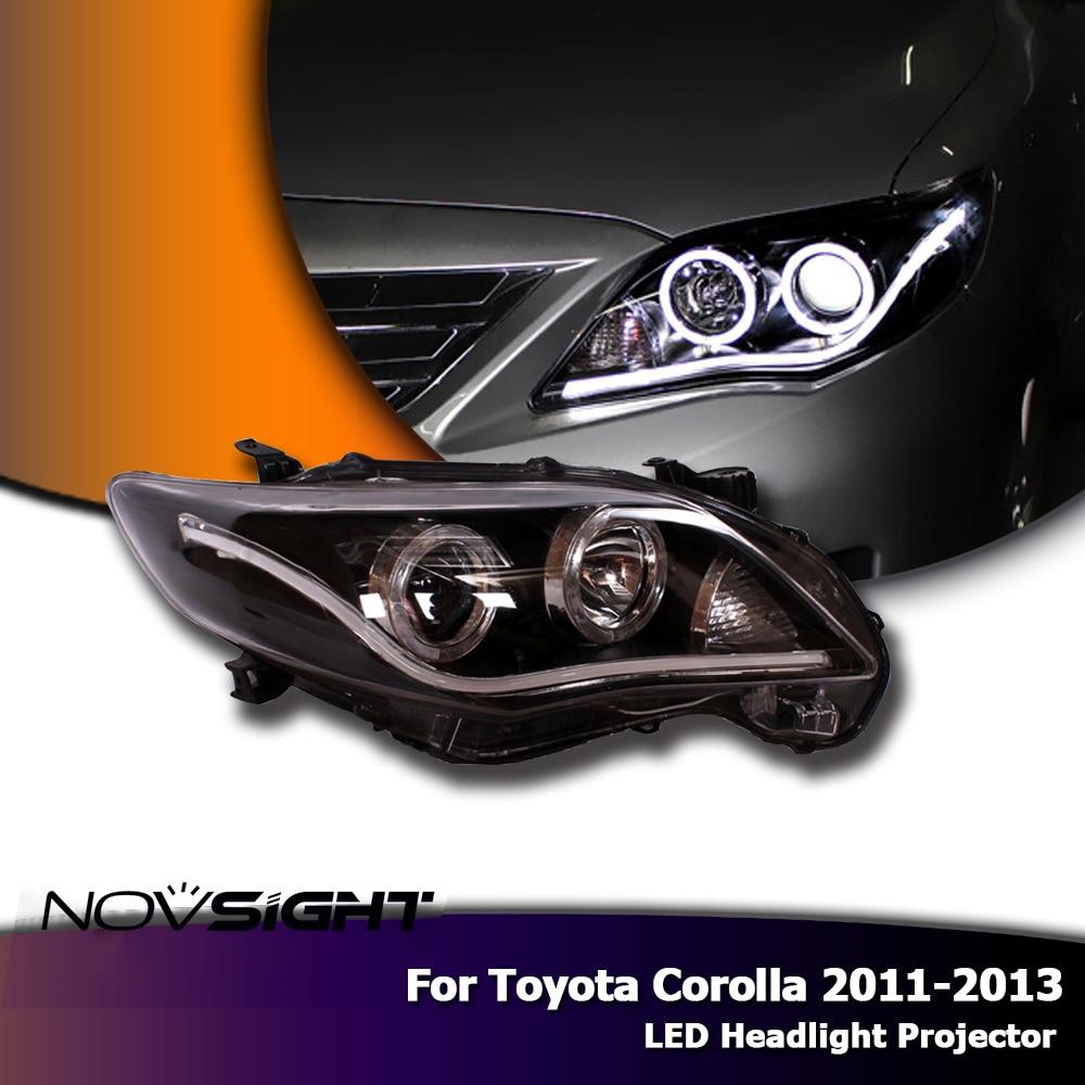 NOVSIGHT 2 pièces LED Phares L'assemblée Projecteur Oeil D'ange DRL Antibrouillard Pour Toyota Corolla 2011-2013 lumières de voiture