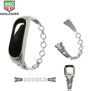 AKGLEADER For Xiaomi Miband 5 High Quality Watch Strap Metal Band Bracelet For Mi Band 3 Strap Crystal Diamond Correas de reloj image