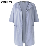 VONDA Pregnant Women Casual Loose Blouses Shirts 2018 Half Sleeve Pregnancy Cardigan Maternity Long Tops Plus