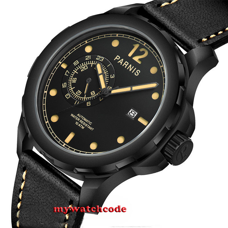 44mm Parnis black dial luminous PVD Sapphire Glass miyato Automatic mens Watch цена и фото