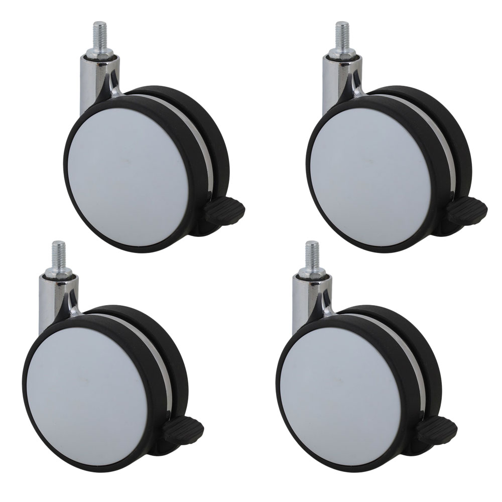 4PCS 82mm Plastic Furniture Office Chair Swivel Caster Wheel Screw Thread Stem with Brake for Sofa Bed Goods Shelf Storage Rack screw rod 2 inches plastic casters 50mm thread swivel wheels black