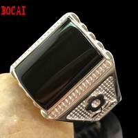 Gem ring natural black s925 pure silver platinum ring inlay adjustable ring with the male