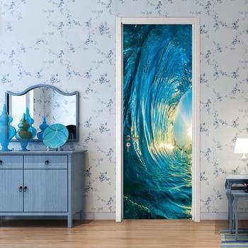 3D Ocean Waves Poster PVC Waterproof Entire Door Sticker Creative Stickers Door Wall Sticker DIY Mural Bedroom Home Decor