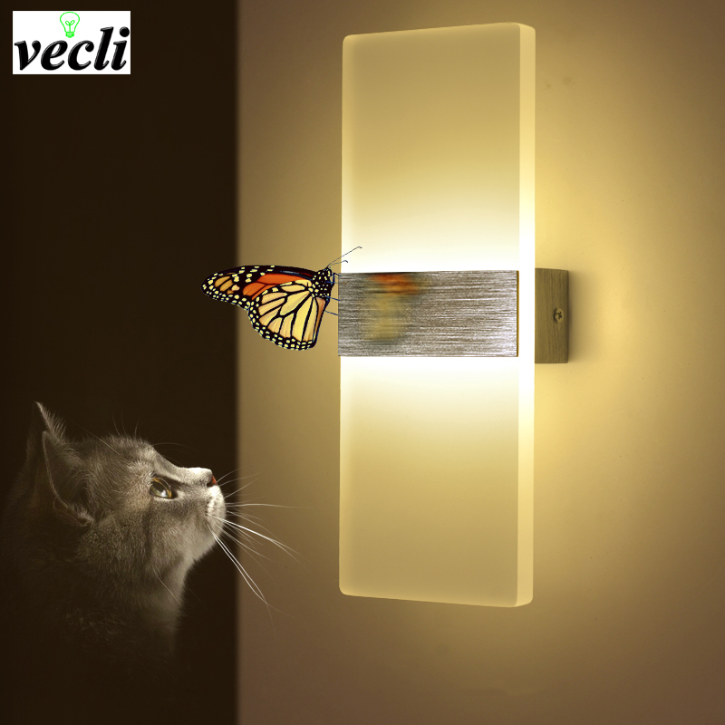 Creative square acrylic toilet mirror led wall light bedroom bedside ...