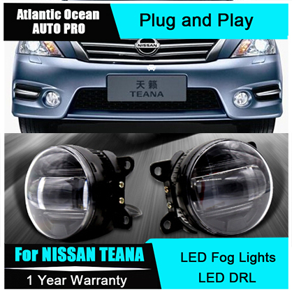 Auto Pro Car Styling LED fog lamps For NISSAN Teana led DRL with lens For NISSAN Teana LED fog lights led daytime running lights for opel astra h gtc 2005 15 h11 wiring harness sockets wire connector switch 2 fog lights drl front bumper 5d lens led lamp