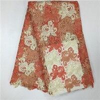 ループの生地フレンチ、美しい桃刺繍レース生地カットハンドアフリカ