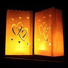 10pcs Heart Tea Light Paper Lantern Candle Bag Home Outdoor LED Lighting Candles Bag Christmas Party Wedding Decoration Supplies