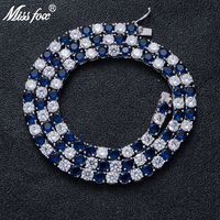Missfox Blue And White Color Tennis Chain Necklace Full Big Lab Diamond Men's Necklace Silver For Man Hipster Accessories 2019
