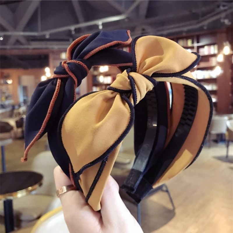 Fashion product the new hair accessories upscale simple handmade cloth rabbit ears bow widebrimmed hairband headband for women