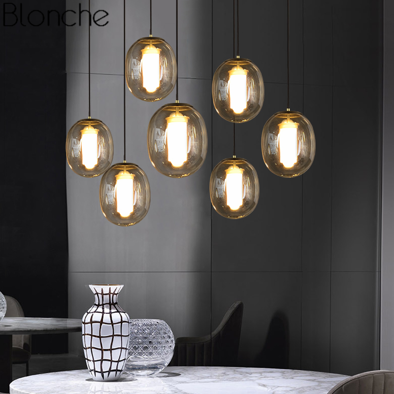 Nordic Glass Pendant Lights Led Hanging Lamp Smoky/Amber Fixtures for Living Room Kitchen Home Suspension Luminaire Decoration modern tom dixon flask smoke glass pendant lights led hanging lamp for living room kitchen home fixtures suspension luminaire