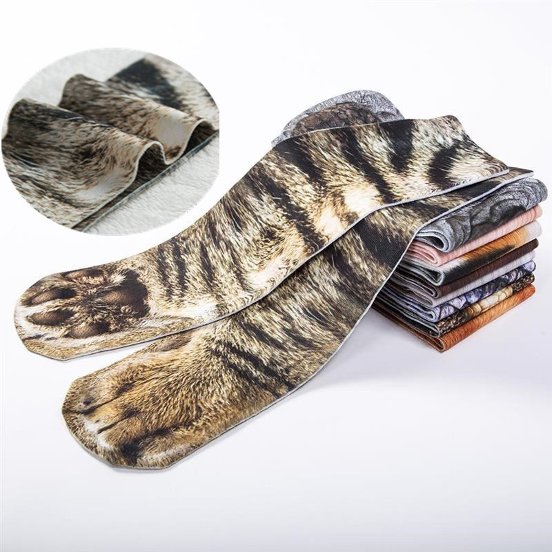 RUBU 2018 New Hot Casual Men Socks Funny Animal Crew Long Socks Animal Paw Pattern 3D Print Socks Men  Meia Masculina 5VB103