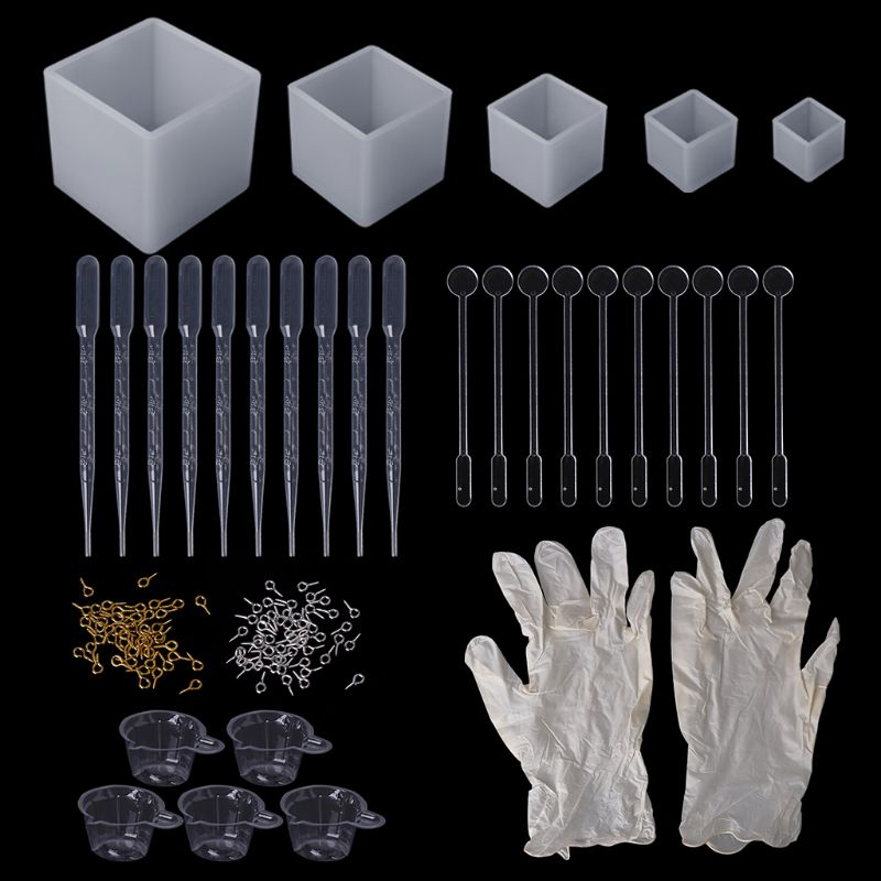 1 Set Epoxy Resin Kit DIY Jewelry Necklace Pendant Cube Square Handmade Silicone Mold Dropper Gloves Cup Pins Necessary Tools