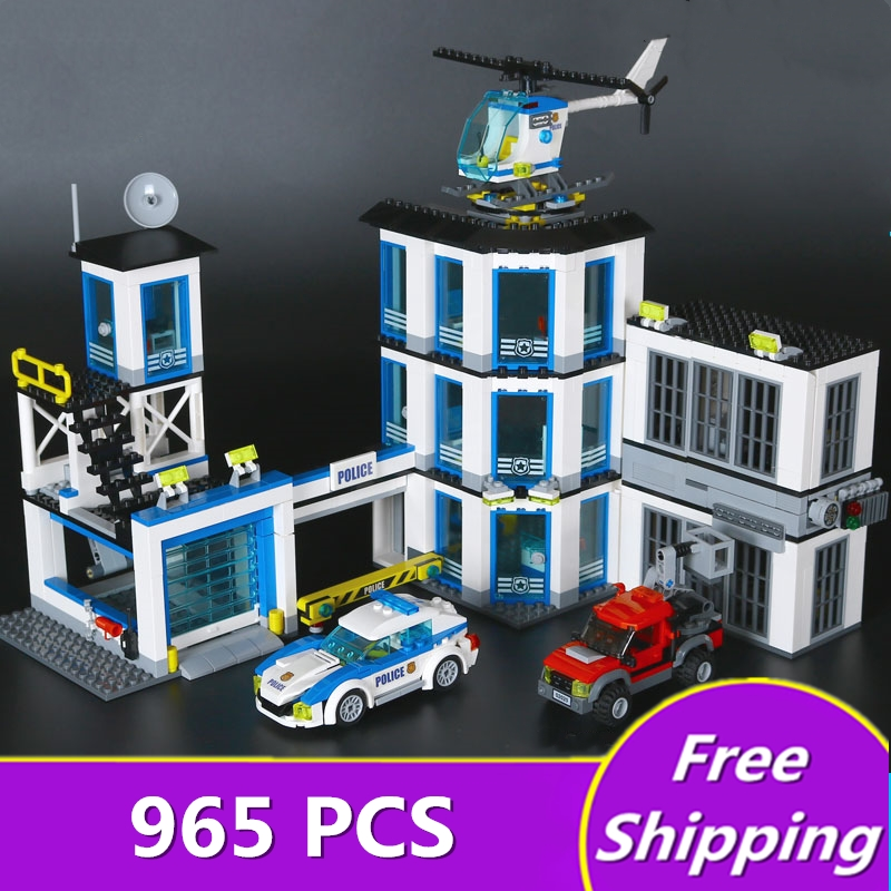 Legone 02020 965Pcs City Series The New Police Station Set children Educational Building Blocks Bricks Boy Toys Model Gift 60141 lepin 02006 815pcs city police series the prison island set building blocks bricks educational toys for children gift legoings
