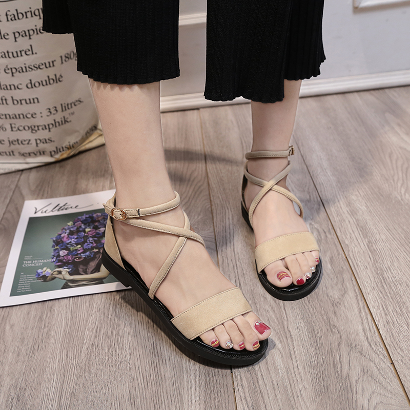 New Fashion 2018 Women Sandals Flat Roman Gladiator Suede Leather Flats Women Summer Shoes Office Casual Sandals summer shoes women casual flat rhinestone flowers roman gladiator sandals 2017 fashion suede leather womens flats peep toe shoes
