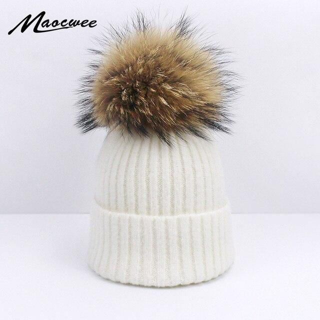 Chica mujer Pom sombreros Invierno Caliente sólido algodón suave lana tapa  sombrero de punto para mujer 87e50d049a2