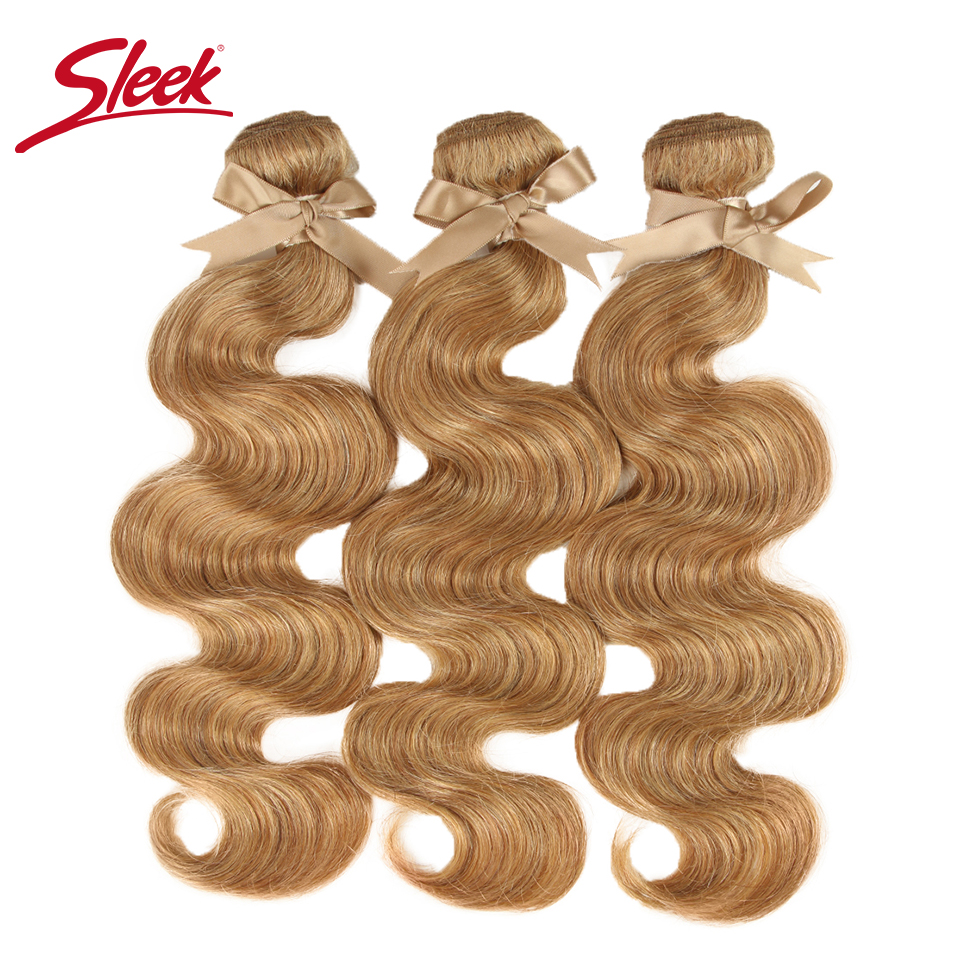 Sleek Mink Blonde Colored 27and 613 Brazilian Body Wave Remy Hair Weave Bundles 10 To 26 Inches Hair Extension Free Shipping