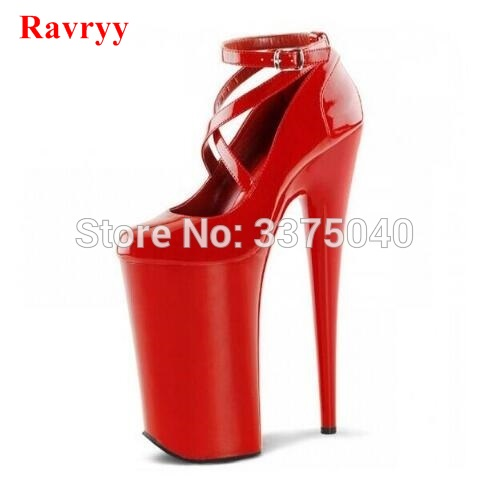 Ravryy extreme high heel 20 cm heels designer platform shoes red black write pumps women sexy party stiletto heels цена