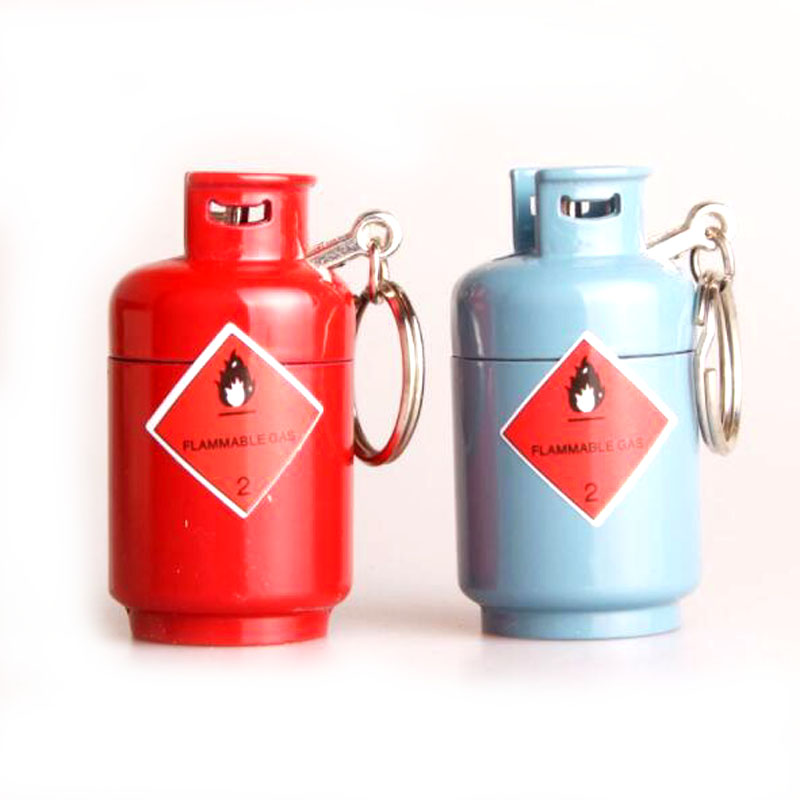 Portable Gas Bottle Lighter Mini Gas Bottle Shape Pendant Lighters Cigar Lighters Kerosene Oil Lighter Gadget Random Color